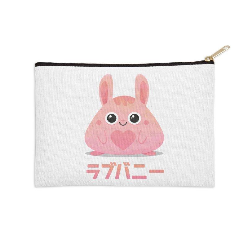 Kawaii Valentine Love Bunny Vintage Pink Japanese Kpop heart Accessories Zip Pouch by amirabouroumie's Artist Shop