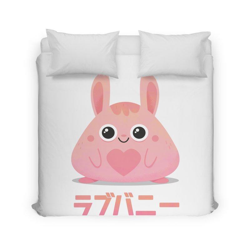 Kawaii Valentine Love Bunny Vintage Pink Japanese Kpop heart Home Duvet by amirabouroumie's Artist Shop