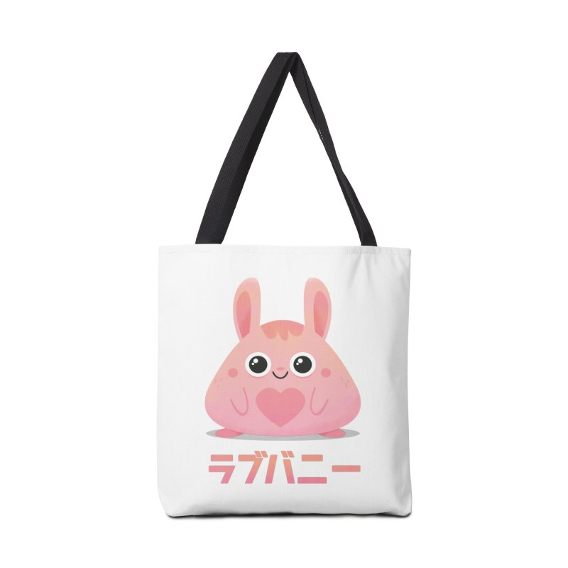 Kawaii Valentine Love Bunny Vintage Pink Japanese Kpop heart Accessories Tote Bag Bag by amirabouroumie's Artist Shop