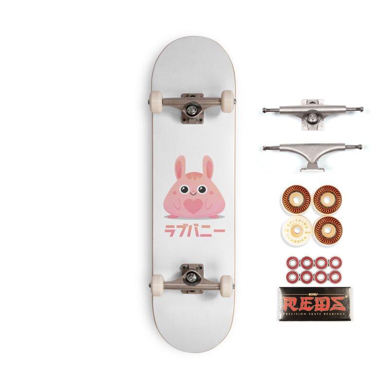 Kawaii Valentine Love Bunny Vintage Pink Japanese Kpop heart Accessories Skateboard by amirabouroumie's Artist Shop