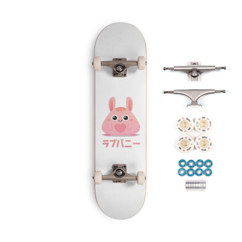 Kawaii Valentine Love Bunny Vintage Pink Japanese Kpop heart Accessories Complete - Premium Skateboard by amirabouroumie's Artist Shop