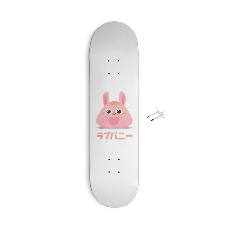 Kawaii Valentine Love Bunny Vintage Pink Japanese Kpop heart Accessories With Hanging Hardware Skateboard by amirabouroumie's Artist Shop