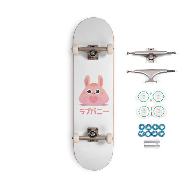 Kawaii Valentine Love Bunny Vintage Pink Japanese Kpop heart Accessories Complete - Basic Skateboard by amirabouroumie's Artist Shop