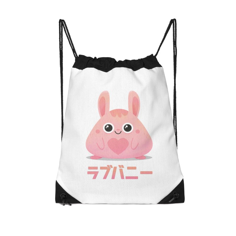 Kawaii Valentine Love Bunny Vintage Pink Japanese Kpop heart Accessories Drawstring Bag Bag by amirabouroumie's Artist Shop