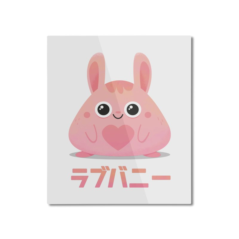 Kawaii Valentine Love Bunny Vintage Pink Japanese Kpop heart Home Mounted Aluminum Print by amirabouroumie's Artist Shop