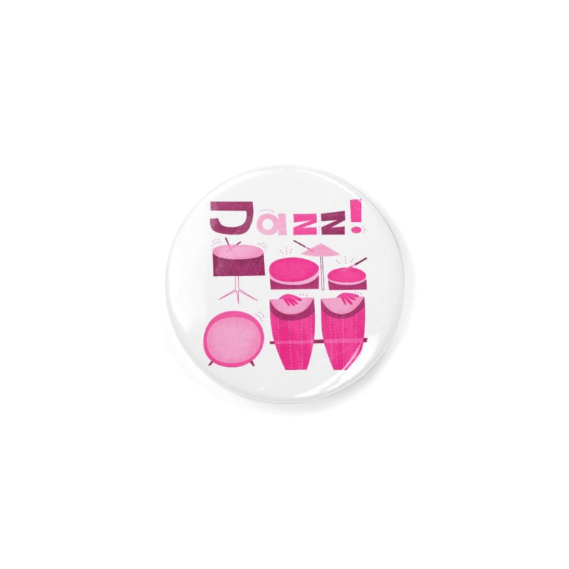 Retro Jazz Drums Percussion Pink Accessories Button by amirabouroumie's Artist Shop