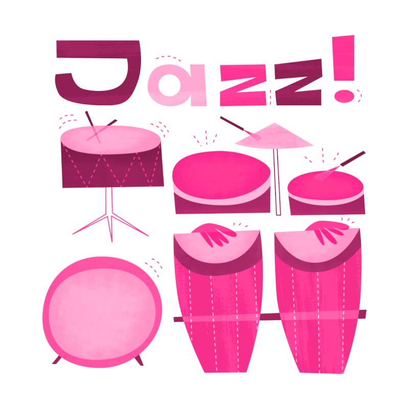 Retro Jazz Drums Percussion Pink by amirabouroumie's Artist Shop