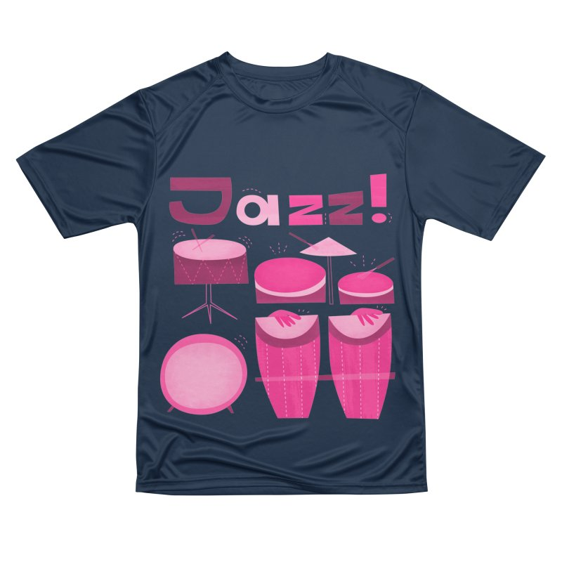 Retro Jazz Drums Percussion Pink Women's Performance Unisex T-Shirt by amirabouroumie's Artist Shop