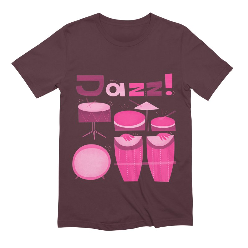 Retro Jazz Drums Percussion Pink Men's Extra Soft T-Shirt by amirabouroumie's Artist Shop