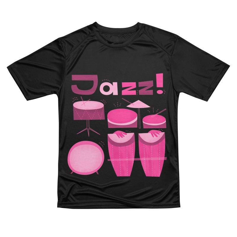 Retro Jazz Drums Percussion Magenta Men's T-Shirt by amirabouroumie's Artist Shop
