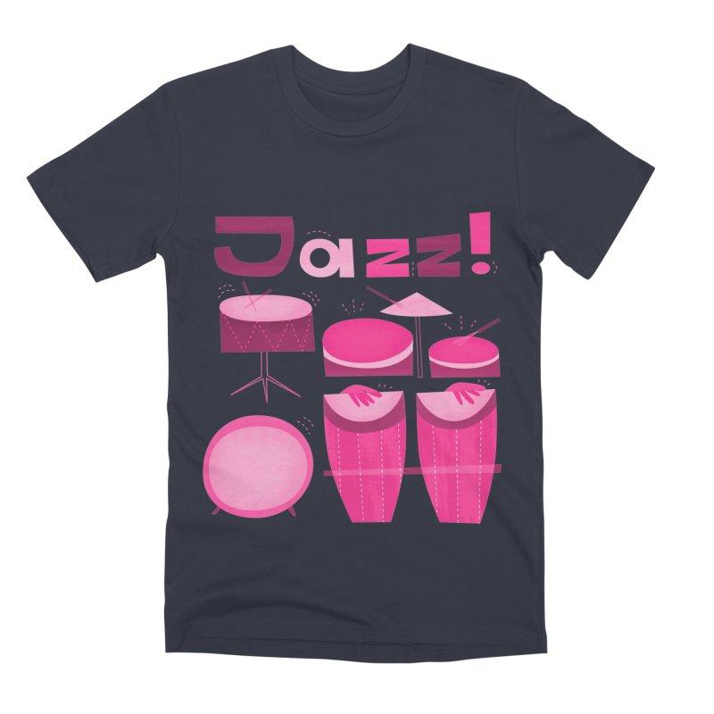 Retro Jazz Drums Percussion Pink Men's Premium T-Shirt by amirabouroumie's Artist Shop