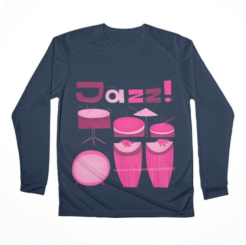 Retro Jazz Drums Percussion Pink Women's Performance Unisex Longsleeve T-Shirt by amirabouroumie's Artist Shop