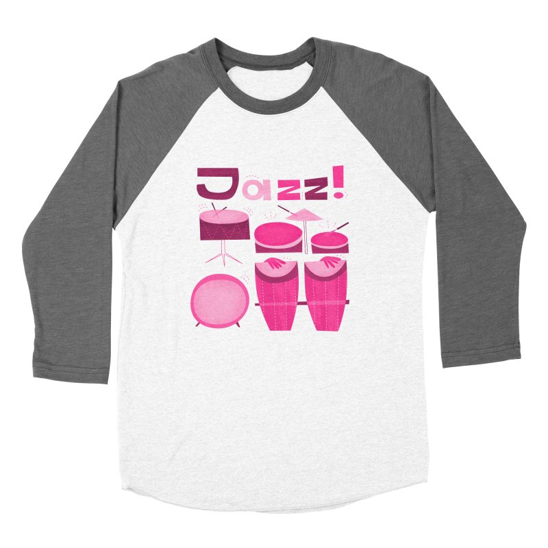 Retro Jazz Drums Percussion Magenta Women's Longsleeve T-Shirt by amirabouroumie's Artist Shop