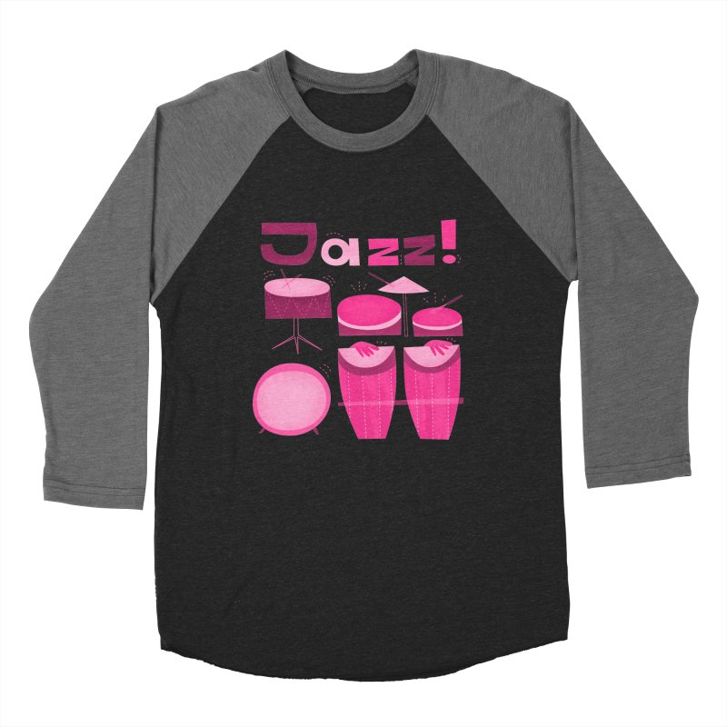 Retro Jazz Drums Percussion Pink Women's Baseball Triblend Longsleeve T-Shirt by amirabouroumie's Artist Shop