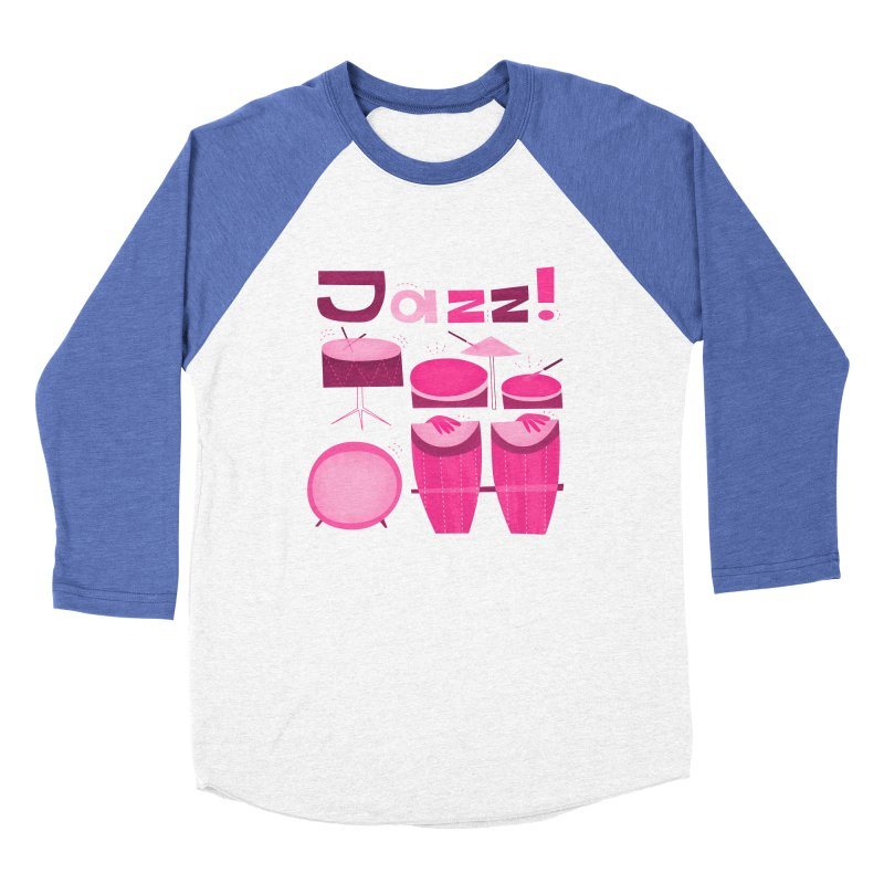 Retro Jazz Drums Percussion Pink Men's Baseball Triblend Longsleeve T-Shirt by amirabouroumie's Artist Shop