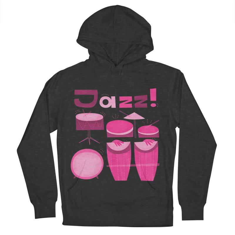 Retro Jazz Drums Percussion Pink Men's French Terry Pullover Hoody by amirabouroumie's Artist Shop