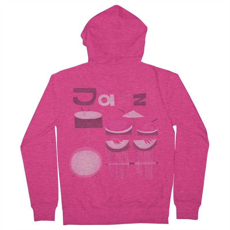 Retro Jazz Drums Percussion Pink Women's French Terry Zip-Up Hoody by amirabouroumie's Artist Shop
