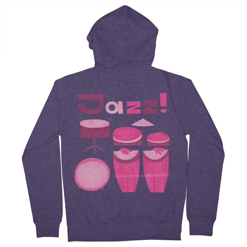 Retro Jazz Drums Percussion Pink Men's French Terry Zip-Up Hoody by amirabouroumie's Artist Shop