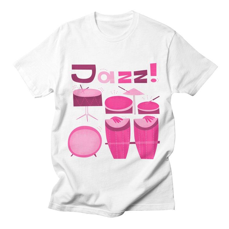 Retro Jazz Drums Percussion Pink Men's Regular T-Shirt by amirabouroumie's Artist Shop