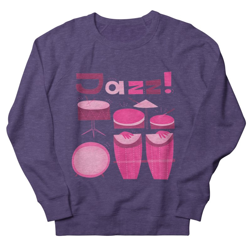 Retro Jazz Drums Percussion Pink Women's French Terry Sweatshirt by amirabouroumie's Artist Shop