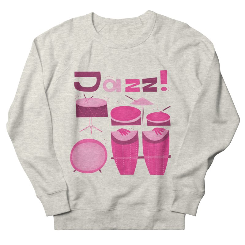 Retro Jazz Drums Percussion Pink Men's French Terry Sweatshirt by amirabouroumie's Artist Shop