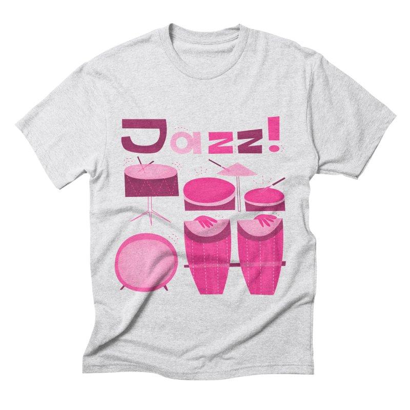 Retro Jazz Drums Percussion Pink Men's Triblend T-Shirt by amirabouroumie's Artist Shop