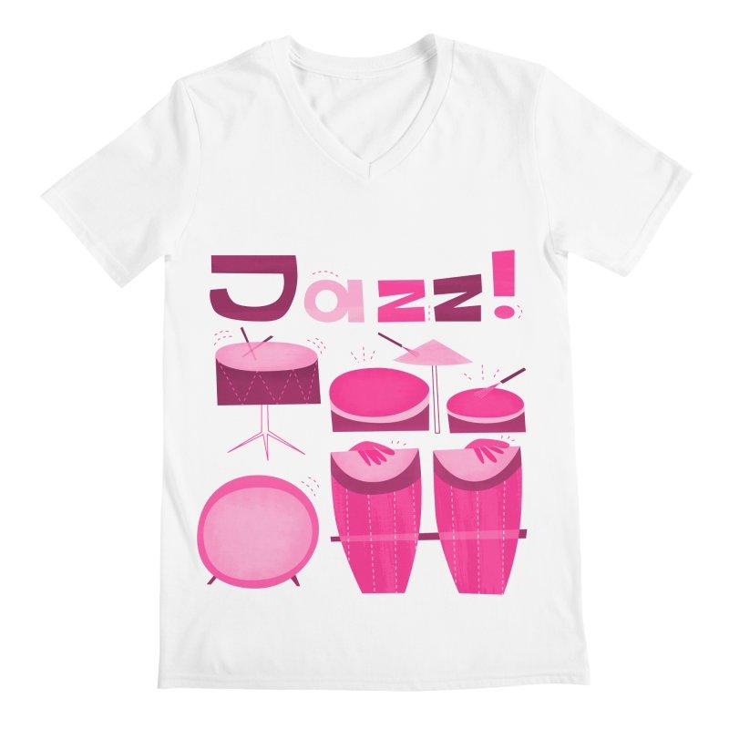 Retro Jazz Drums Percussion Magenta Men's V-Neck by amirabouroumie's Artist Shop