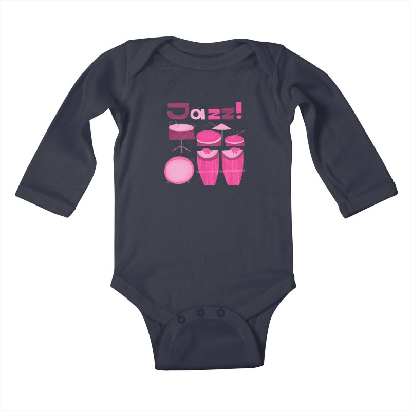 Retro Jazz Drums Percussion Magenta Kids Baby Longsleeve Bodysuit by amirabouroumie's Artist Shop