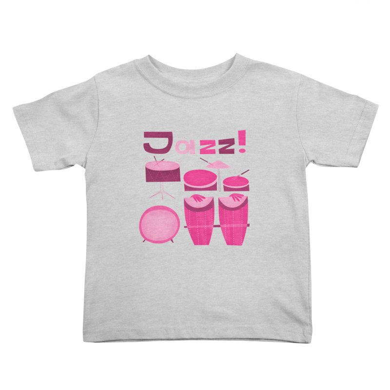 Retro Jazz Drums Percussion Magenta Kids Toddler T-Shirt by amirabouroumie's Artist Shop