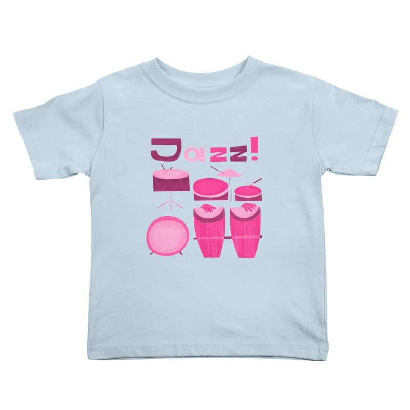 Retro Jazz Drums Percussion Pink Kids Toddler T-Shirt by amirabouroumie's Artist Shop