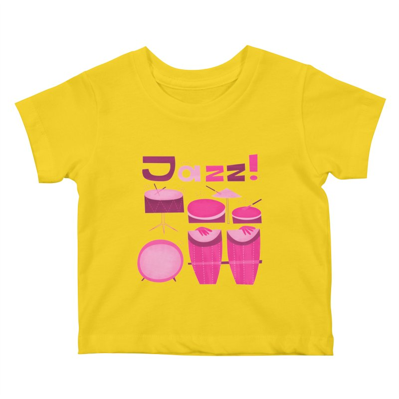 Retro Jazz Drums Percussion Pink Kids Baby T-Shirt by amirabouroumie's Artist Shop