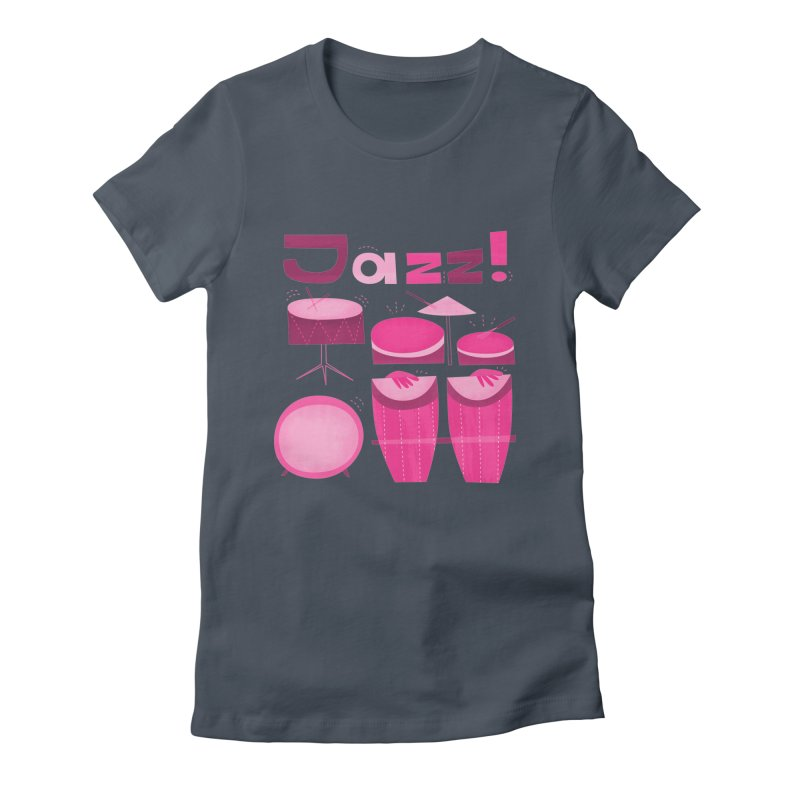 Retro Jazz Drums Percussion Magenta Women's T-Shirt by amirabouroumie's Artist Shop