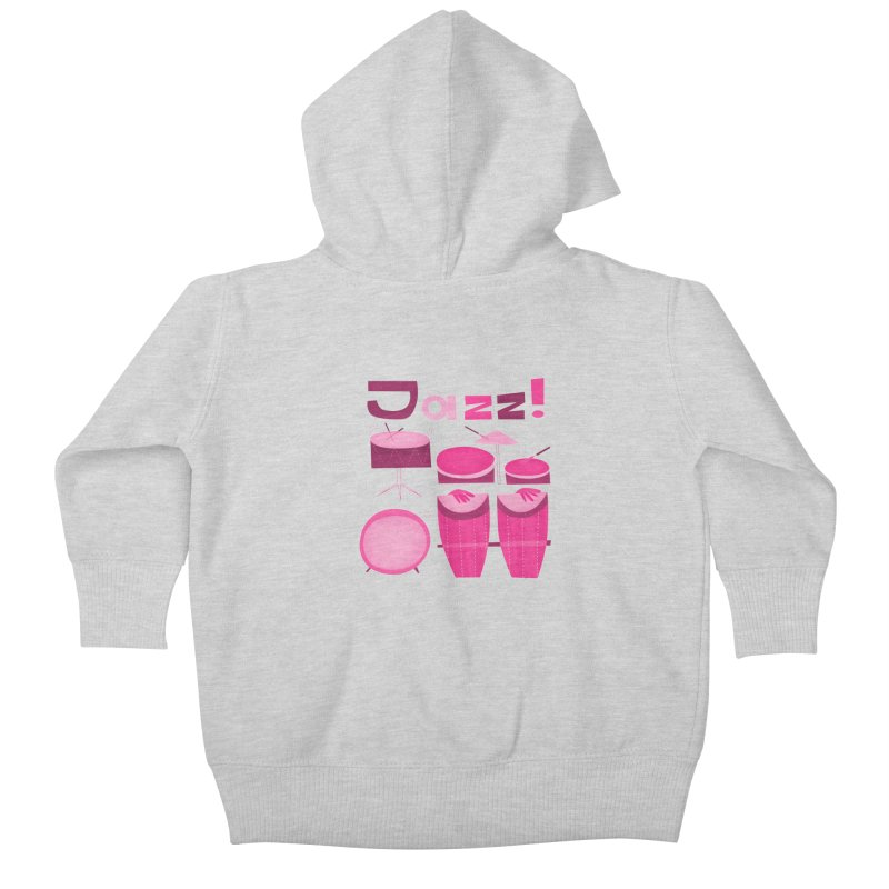 Retro Jazz Drums Percussion Pink Kids Baby Zip-Up Hoody by amirabouroumie's Artist Shop