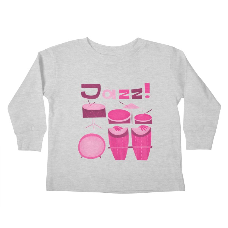 Retro Jazz Drums Percussion Pink Kids Toddler Longsleeve T-Shirt by amirabouroumie's Artist Shop