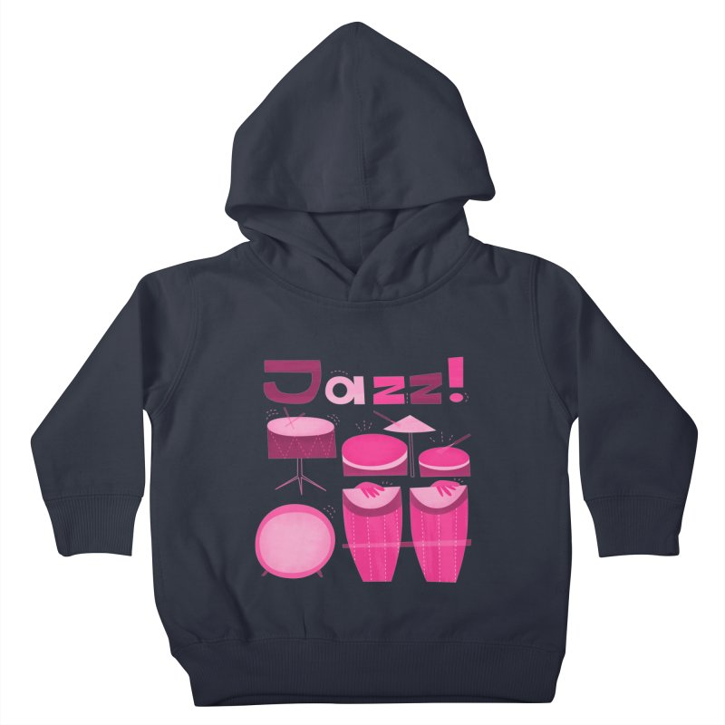 Retro Jazz Drums Percussion Pink Kids Toddler Pullover Hoody by amirabouroumie's Artist Shop