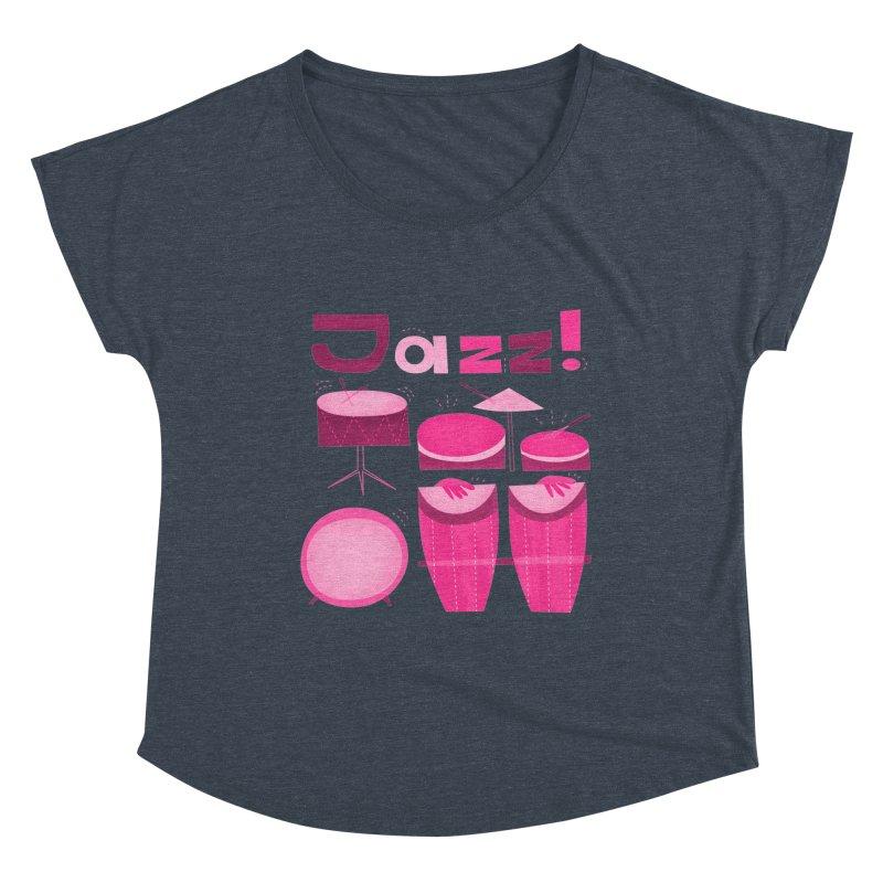 Retro Jazz Drums Percussion Pink Women's Dolman Scoop Neck by amirabouroumie's Artist Shop