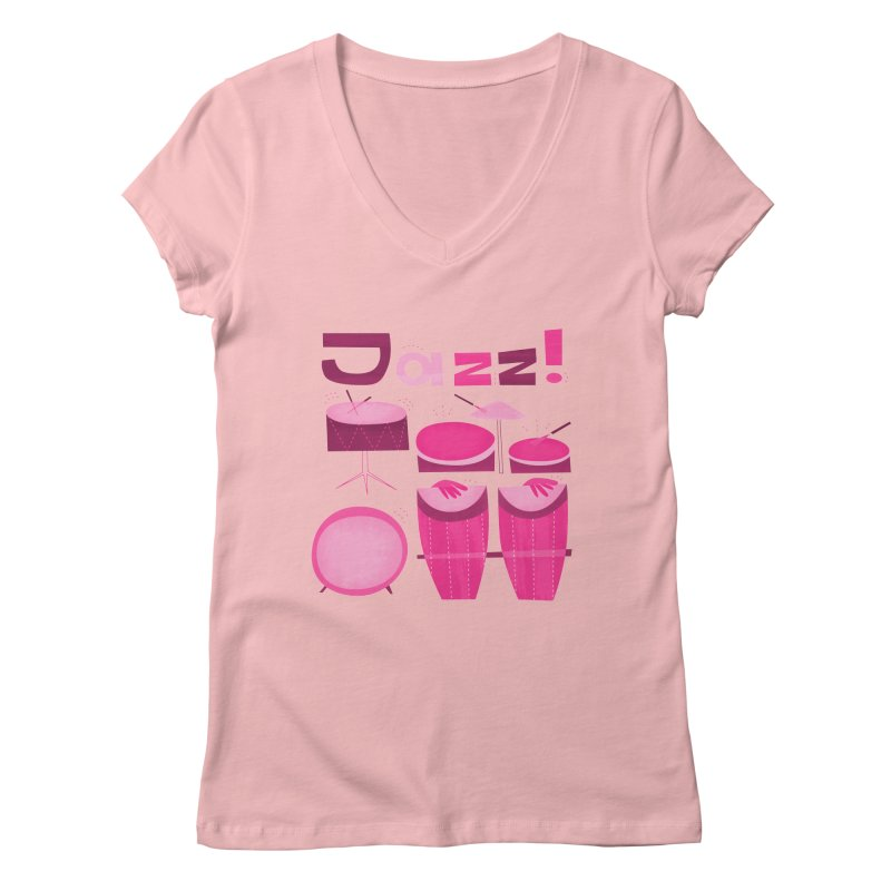 Retro Jazz Drums Percussion Pink Women's Regular V-Neck by amirabouroumie's Artist Shop