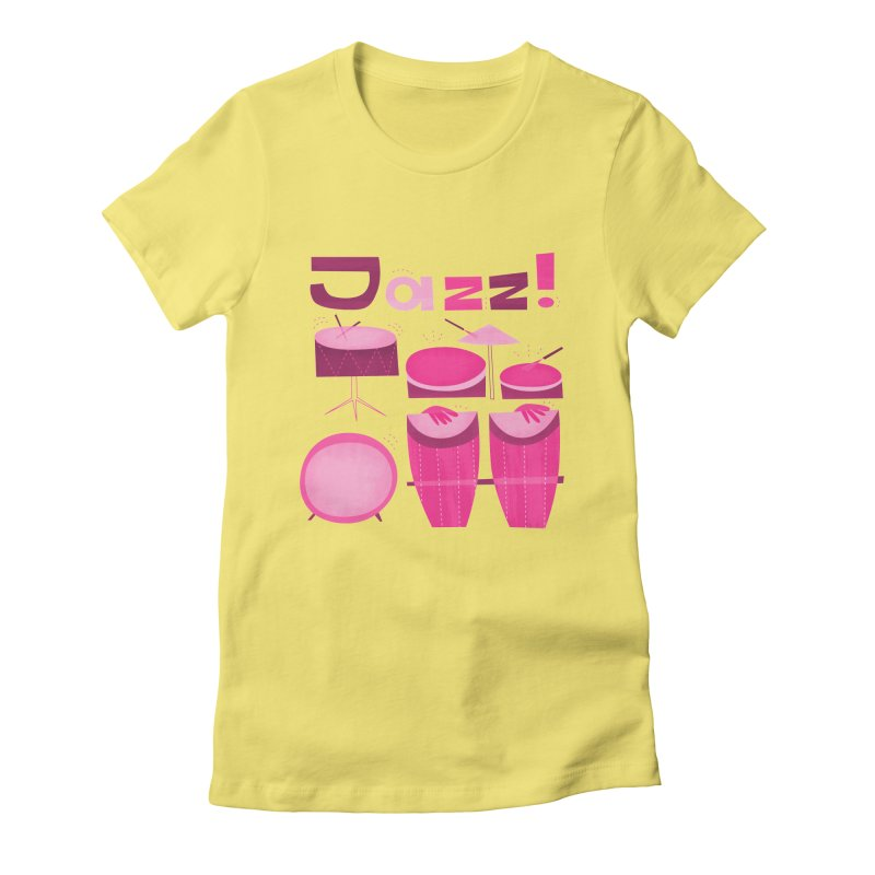 Retro Jazz Drums Percussion Pink Women's Fitted T-Shirt by amirabouroumie's Artist Shop