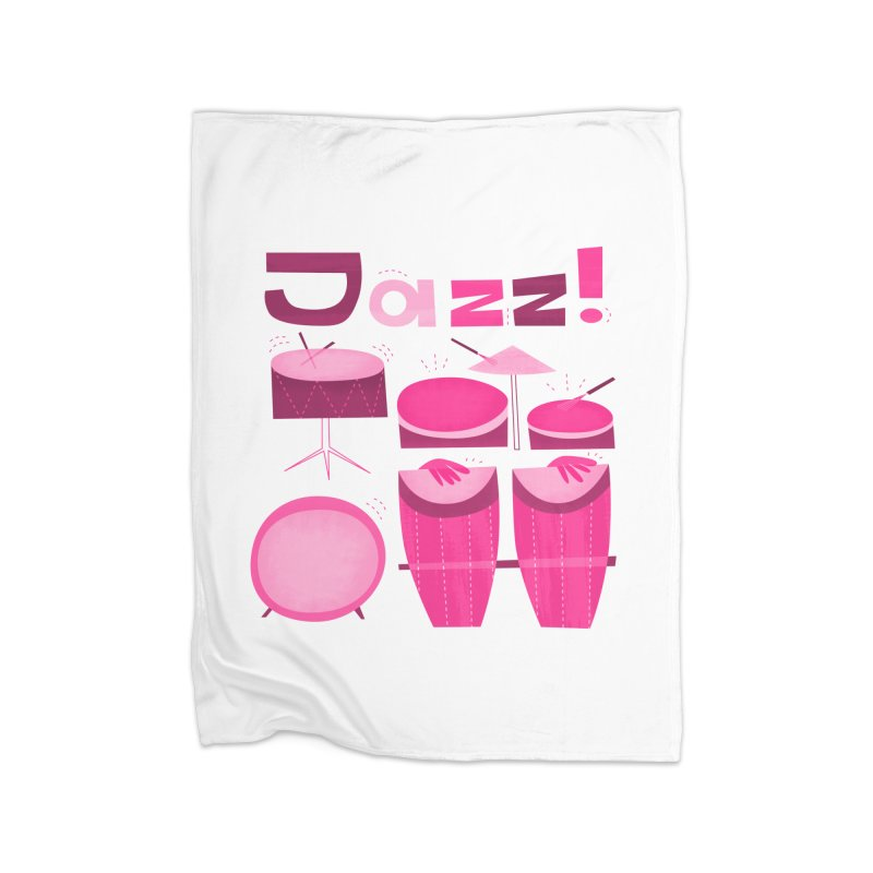 Retro Jazz Drums Percussion Pink Home Fleece Blanket Blanket by amirabouroumie's Artist Shop