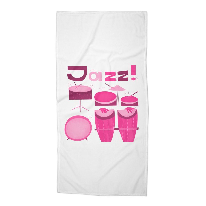 Retro Jazz Drums Percussion Pink Accessories Beach Towel by amirabouroumie's Artist Shop