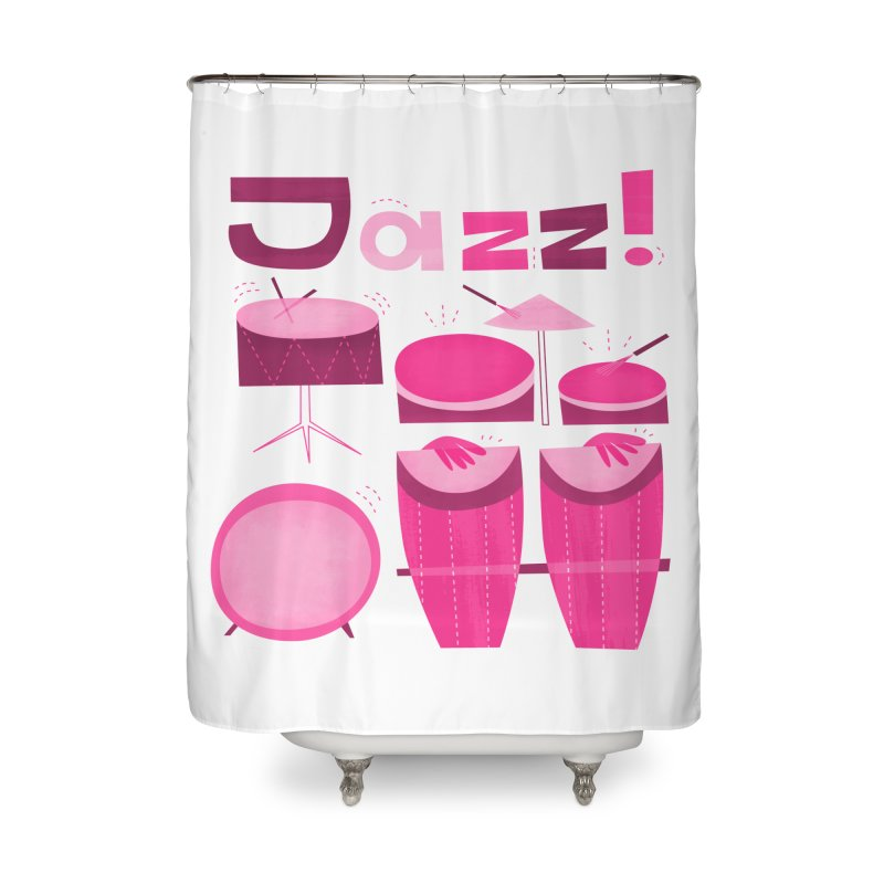 Retro Jazz Drums Percussion Pink Home Shower Curtain by amirabouroumie's Artist Shop