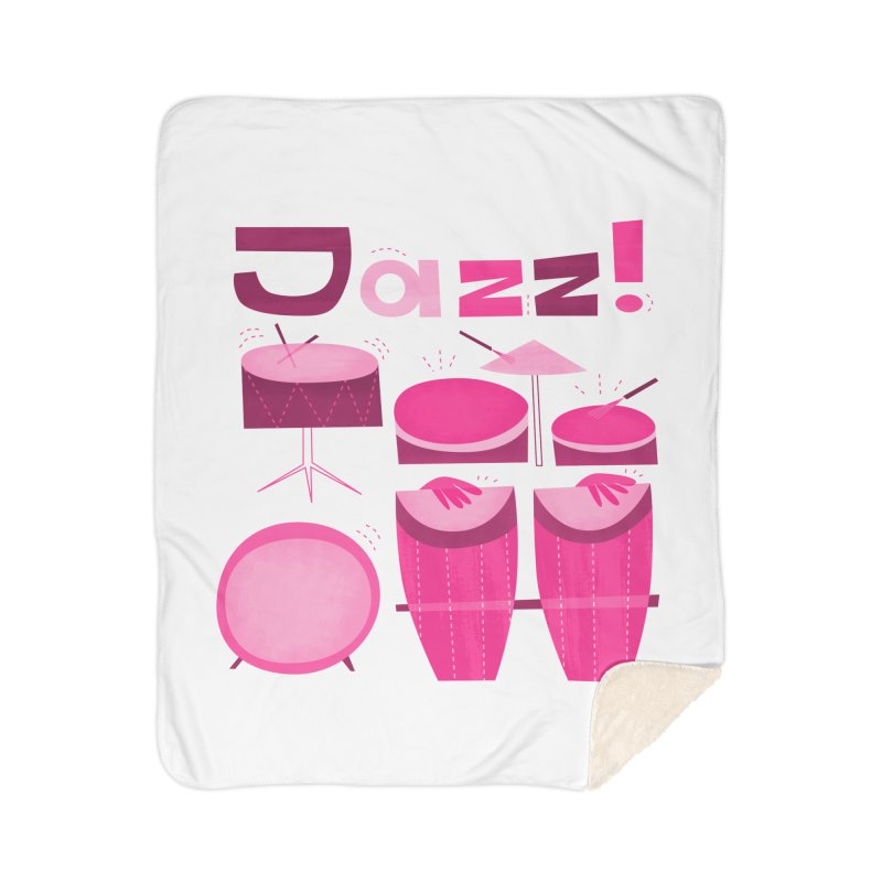 Retro Jazz Drums Percussion Pink Home Sherpa Blanket Blanket by amirabouroumie's Artist Shop