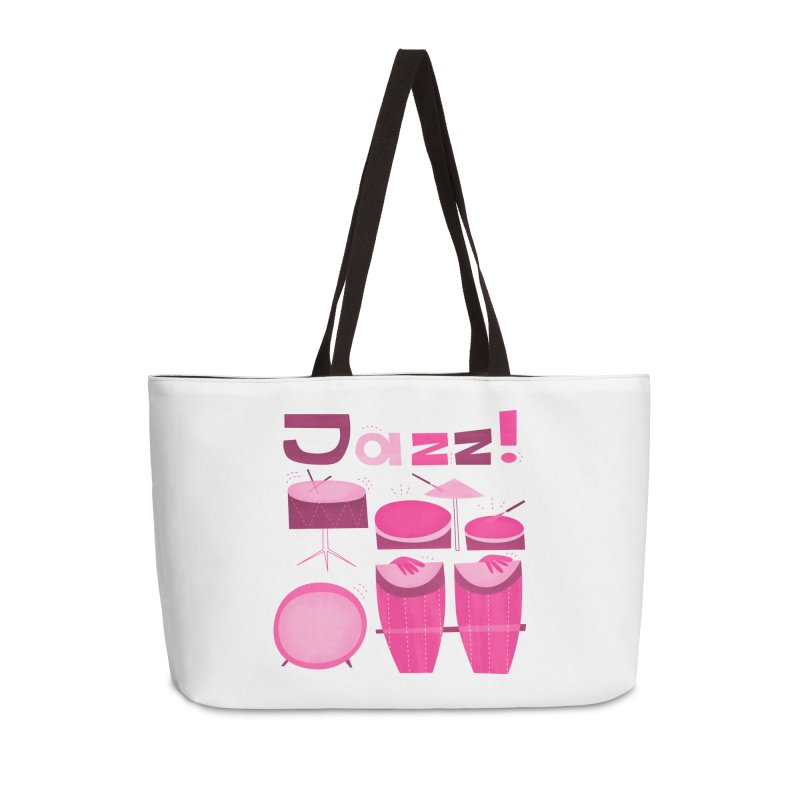 Retro Jazz Drums Percussion Pink Accessories Weekender Bag Bag by amirabouroumie's Artist Shop