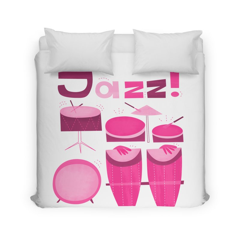 Retro Jazz Drums Percussion Pink Home Duvet by amirabouroumie's Artist Shop