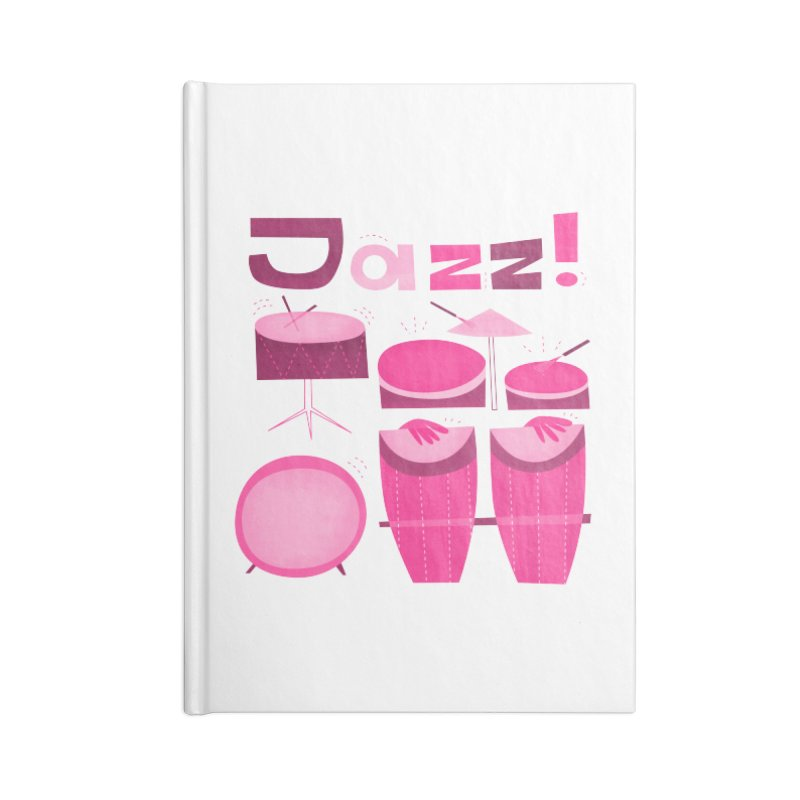 Retro Jazz Drums Percussion Pink Accessories Blank Journal Notebook by amirabouroumie's Artist Shop