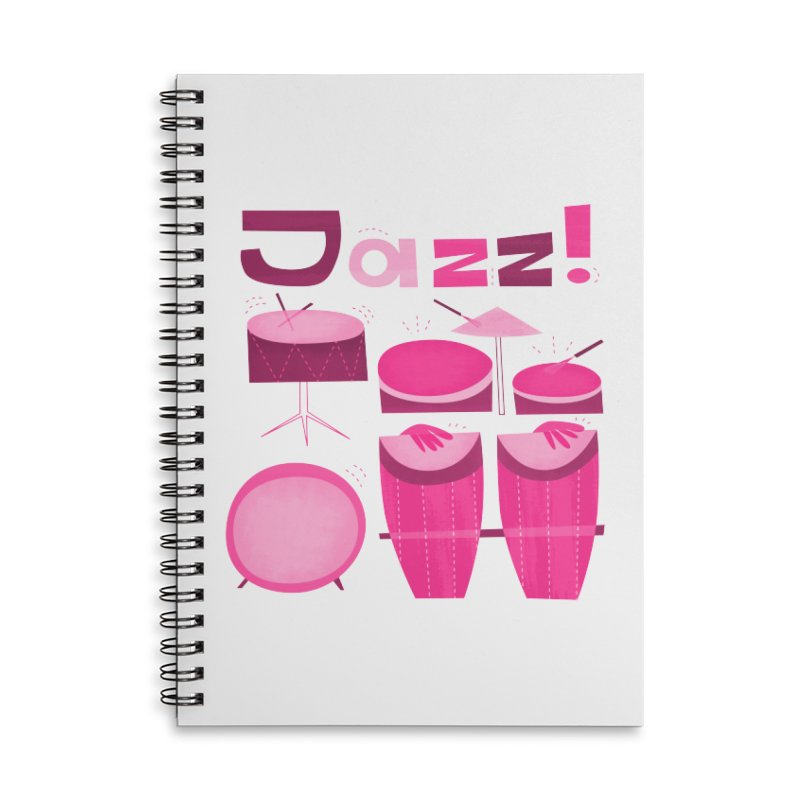 Retro Jazz Drums Percussion Pink Accessories Lined Spiral Notebook by amirabouroumie's Artist Shop