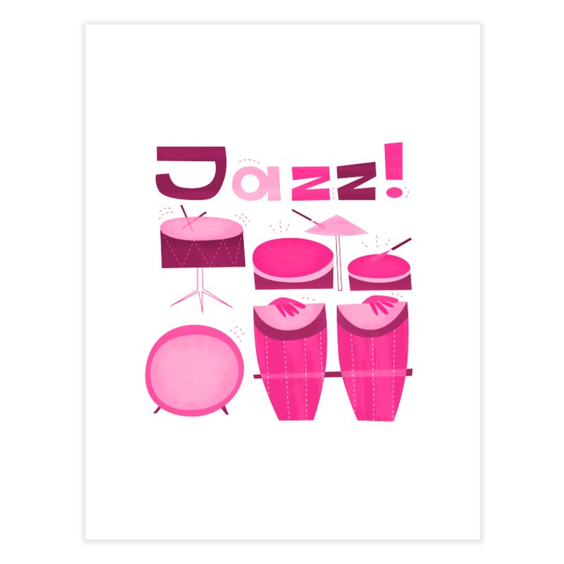Retro Jazz Drums Percussion Magenta Home Fine Art Print by amirabouroumie's Artist Shop