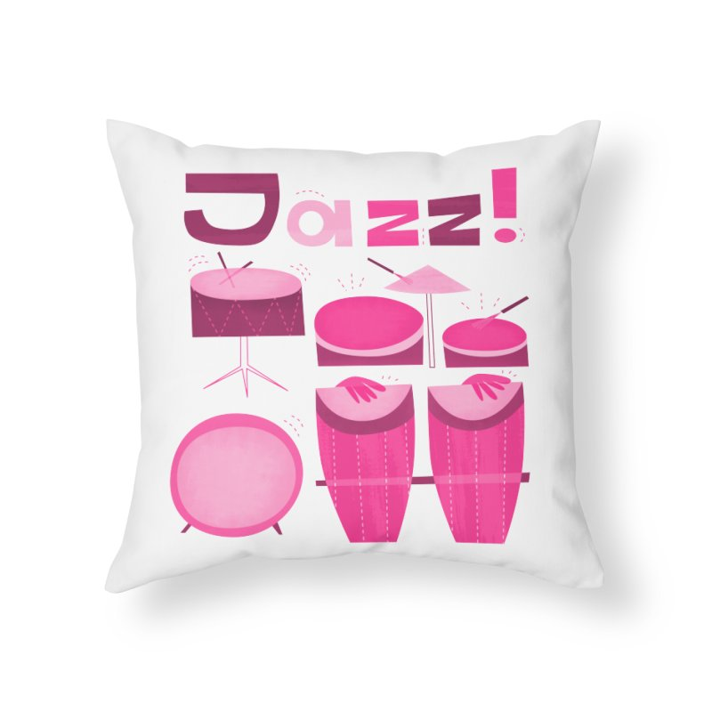 Retro Jazz Drums Percussion Magenta Home Throw Pillow by amirabouroumie's Artist Shop