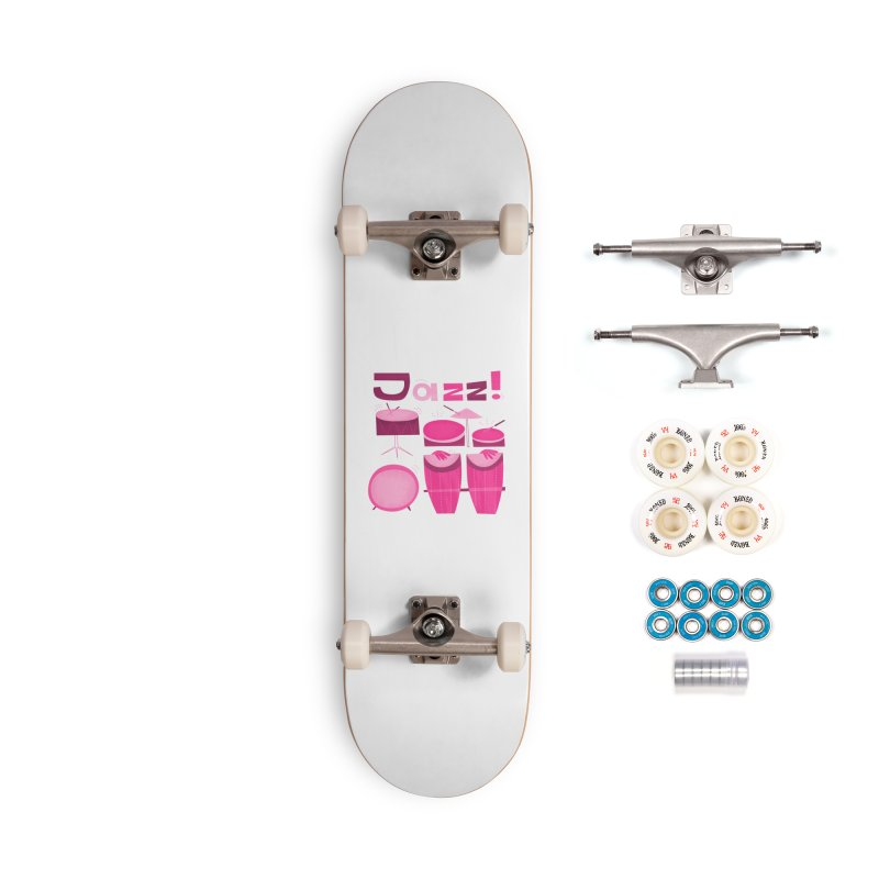 Retro Jazz Drums Percussion Pink Accessories Complete - Premium Skateboard by amirabouroumie's Artist Shop