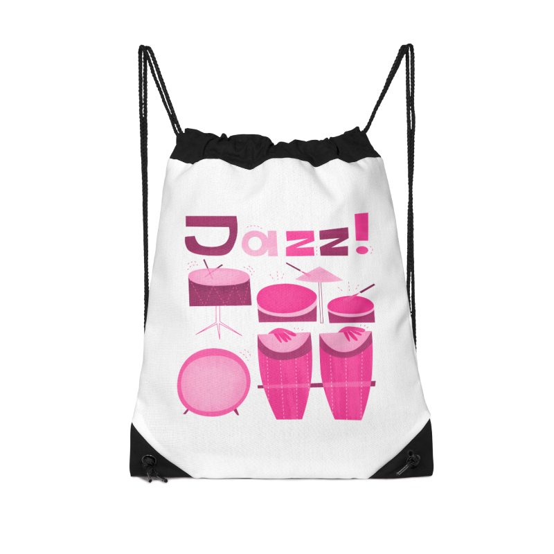 Retro Jazz Drums Percussion Pink Accessories Drawstring Bag Bag by amirabouroumie's Artist Shop
